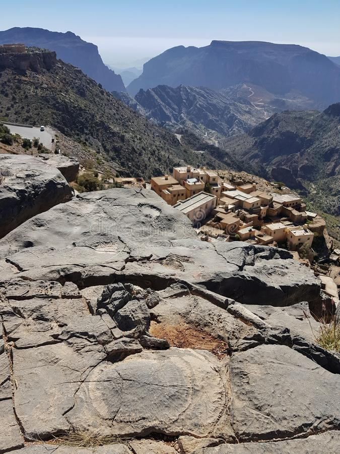 Jebel Akhdar in Oman, Green Canyon and blue sky stock image