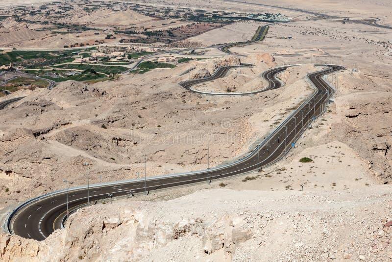 Jebel Hafeet mountain road royalty free stock photo
