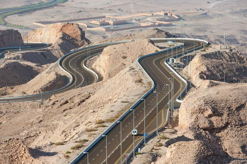 Jebel Hafeet Road in Al Ain, UAE stock photos
