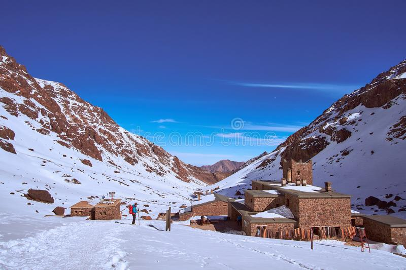 Jebel Toubkal mountain refuges in Morocco royalty free stock photo