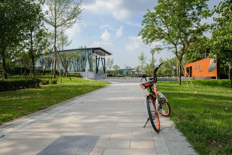 Jechać na rowerze dla dzielić na bruku w gazonie wewnątrz blisko wejścia tunel obrazy royalty free