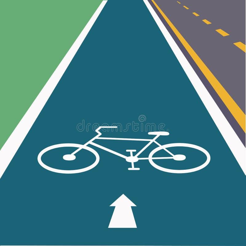 Jechać na rowerze pas ruchu w lewym pasie ruchu droga royalty ilustracja