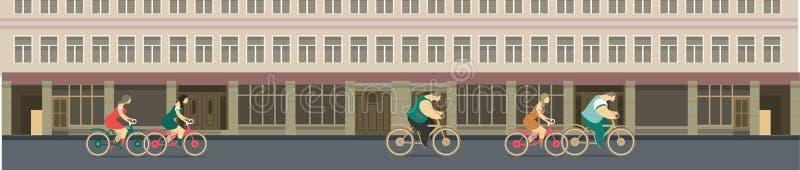 Jechać na rowerze przez miasto ulic ilustracja wektor