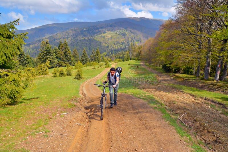 jechać na rowerze target1669_0_ cyklisty głębii pola ostrości lasu ręk halną perspektywy płyciznę obrazy royalty free
