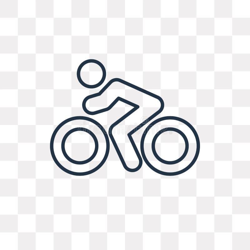 Jechać na rowerze wektorową ikonę odizolowywającą na przejrzystym tle, liniowy Bi royalty ilustracja