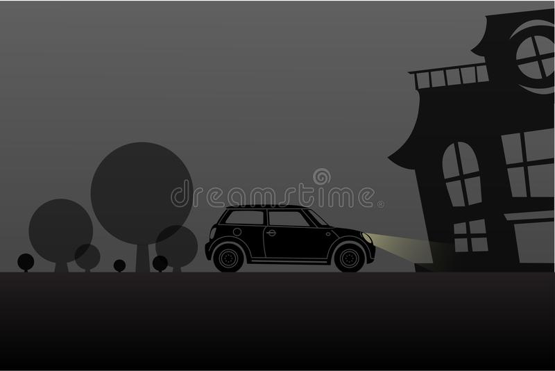 Jechać nawiedzająca domowa nocy sceny Halloween sylwetka ilustracja wektor