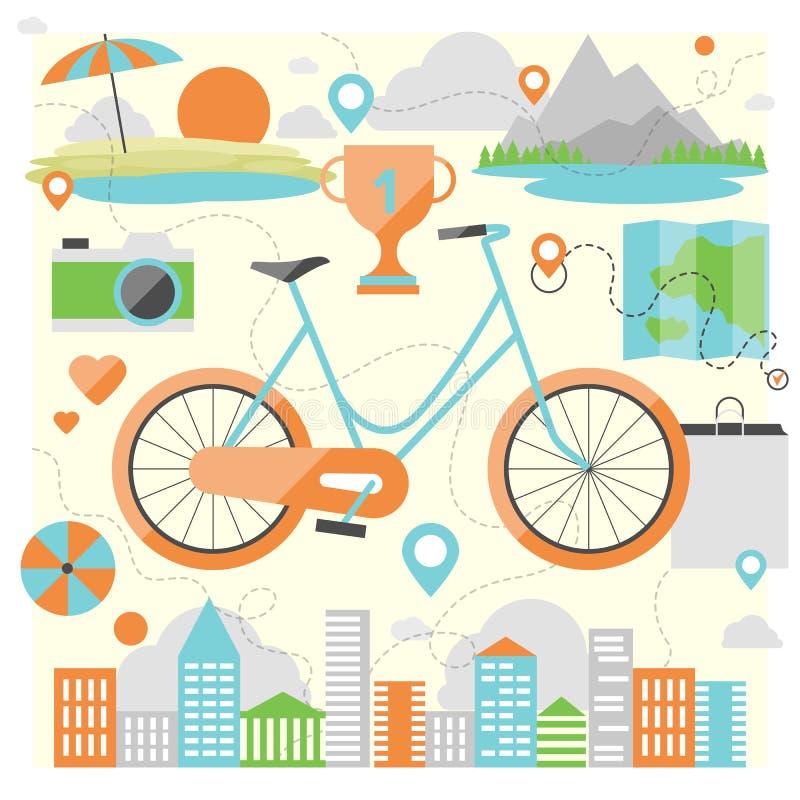 Jechać roweru mieszkania ilustrację ilustracji