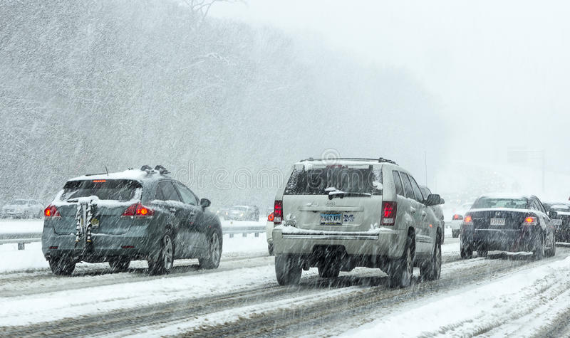 Jechać w śniegu zdjęcie stock