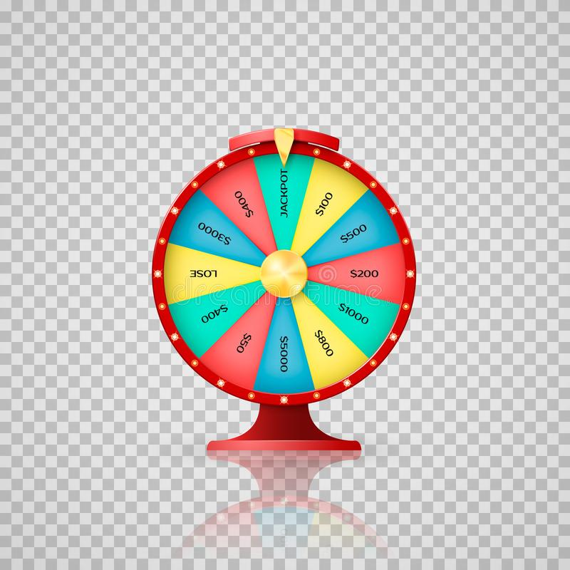 Jeckpot symbol of lucky lottery winner. Casino, wheel of fortune arrow point to jackpot. Vector illustration on transparent backgr vector illustration
