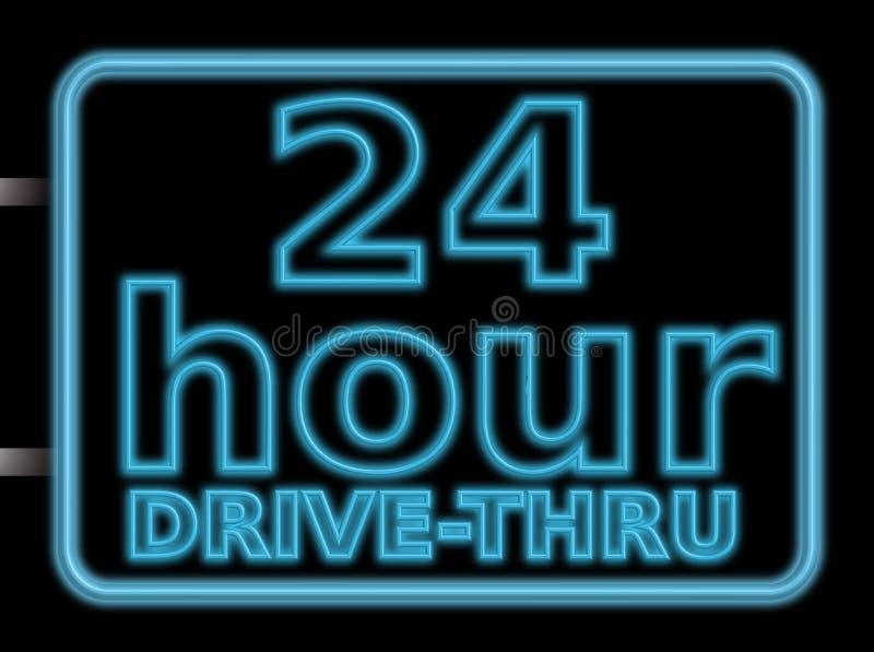 jedź 24hr neon znak ilustracja wektor