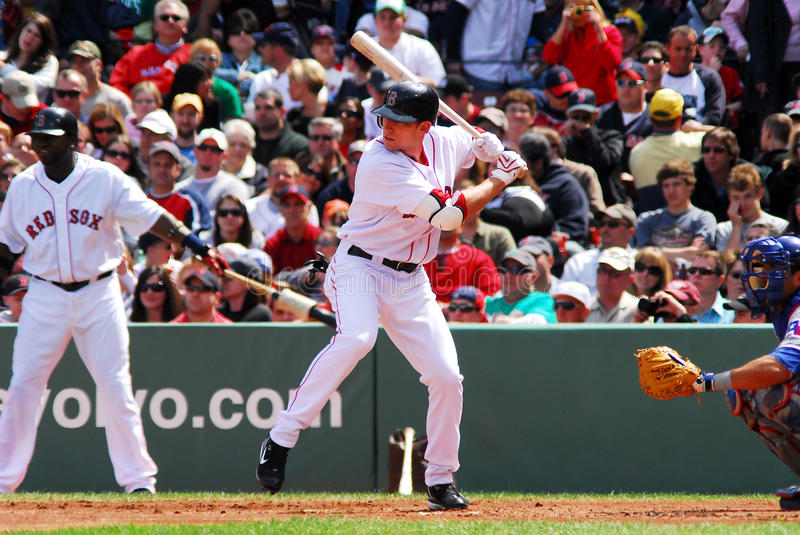 Jed Lowrie Boston Red Sox. Boston Red Sox infielder Jed Lowrie at bat against the Texas Rangers stock photography