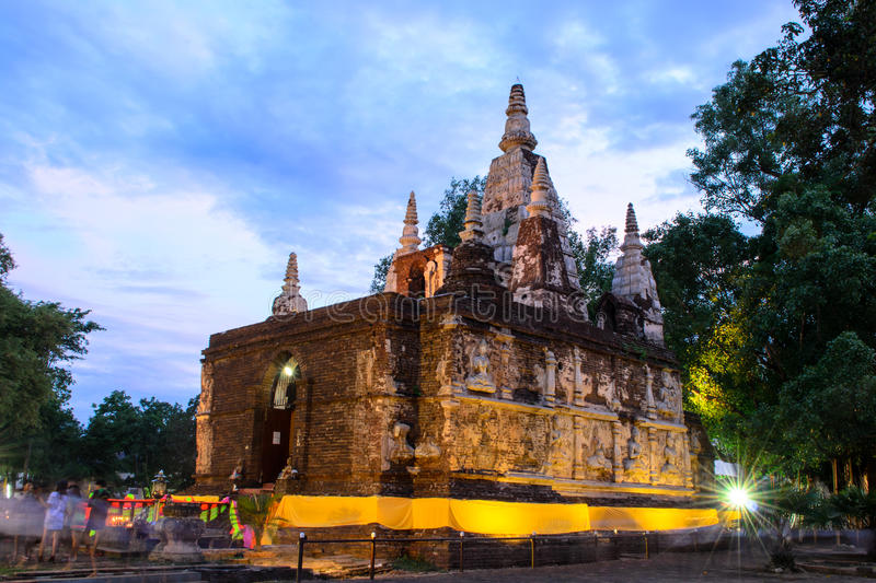 Jed yod temple. Art on ancient Buddhist architecture in Chiangmai, Thailand.(Jed Yod temple stock photo
