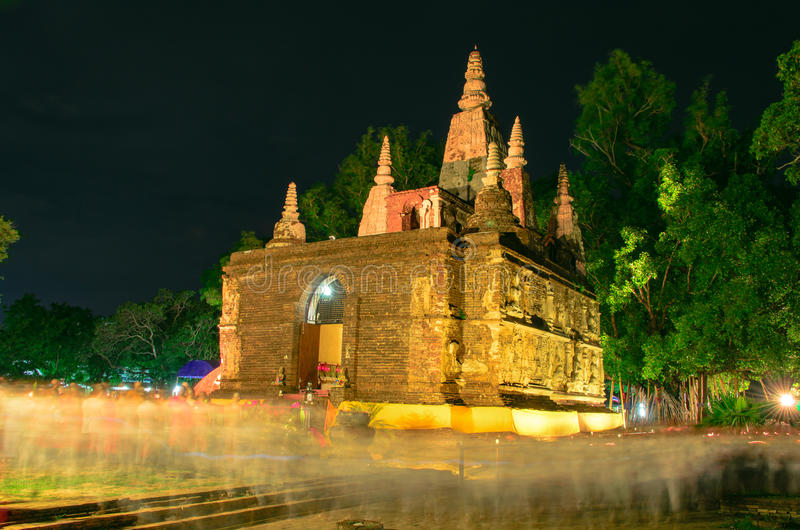 Jed yod temple. Art on ancient Buddhist architecture in Chiangmai, Thailand.(Jed Yod temple royalty free stock image