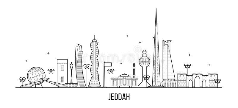 Jeddah linia horyzontu Arabia Saudyjska miasta wektorowa liniowa sztuka ilustracji