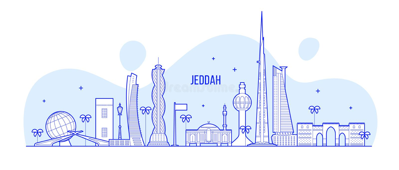 Jeddah linia horyzontu Arabia Saudyjska miasta wektorowa liniowa sztuka royalty ilustracja