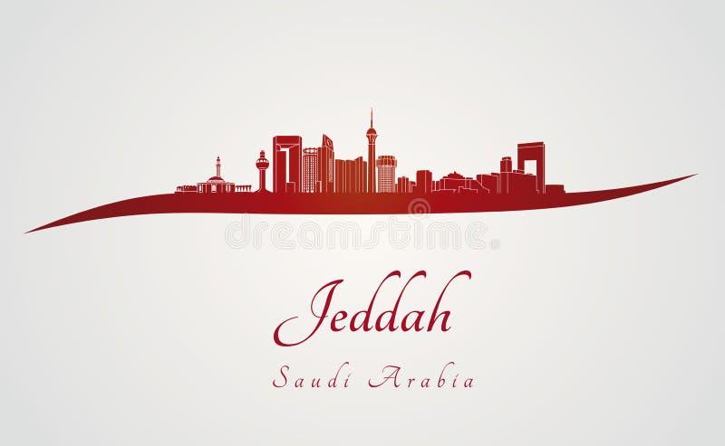 Jeddah linia horyzontu w czerwieni ilustracji