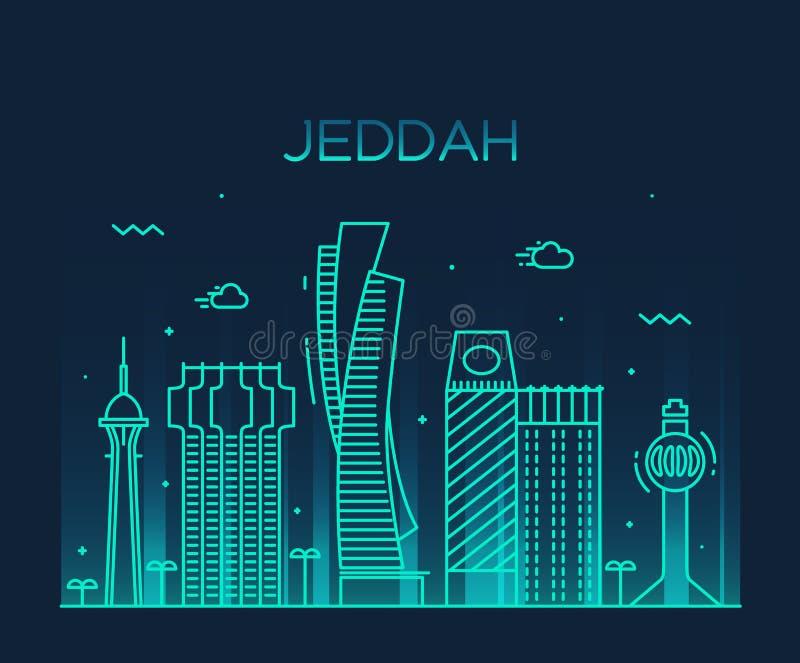 Jeddah linii horyzontu wektorowy ilustracyjny liniowy styl ilustracji