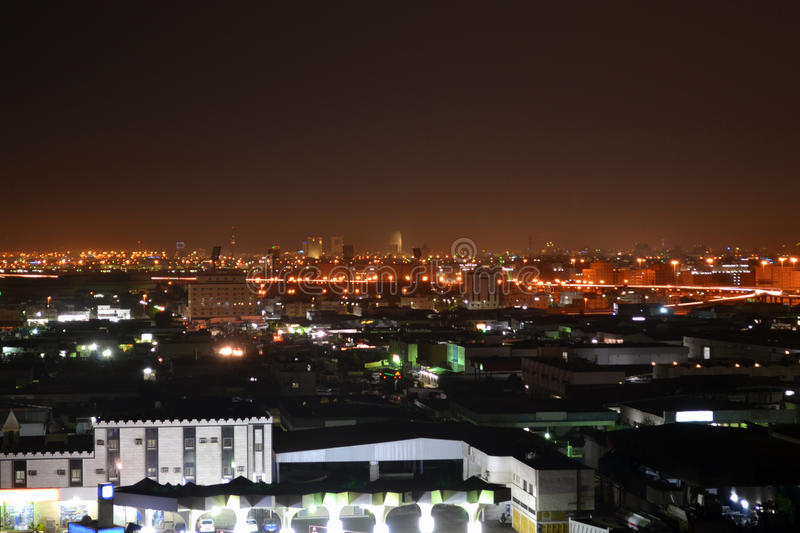 Jeddah at night stock photography