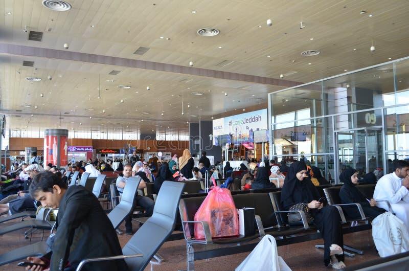 Jeddah Saudiarabien, flygplatsterminal arkivfoton