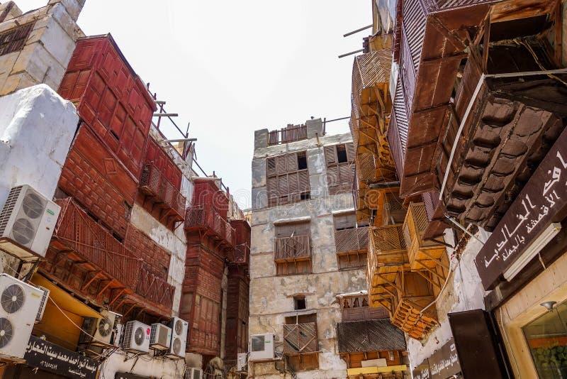 Jeddah, saudyjczyk maj 26, 2016: Starzy budynki przy historycznym terenem Jeddah fotografia stock