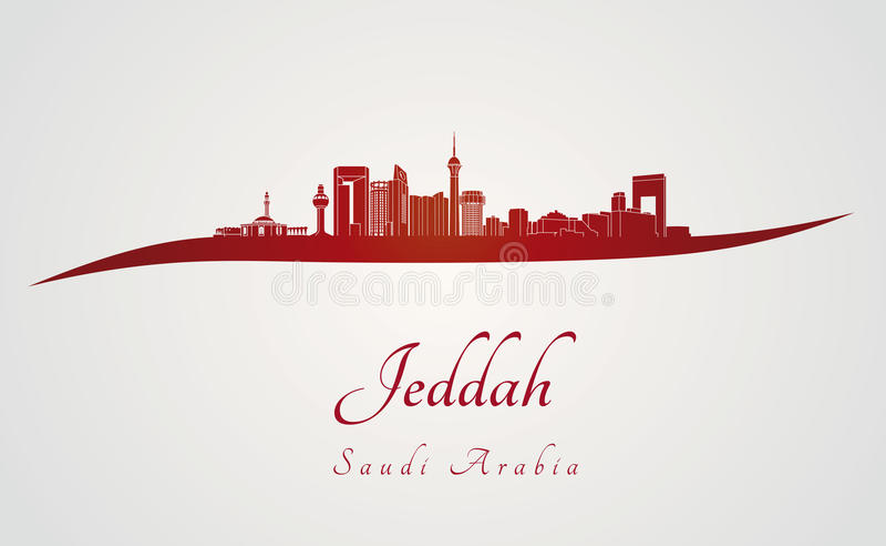 Jeddah skyline in red stock illustration
