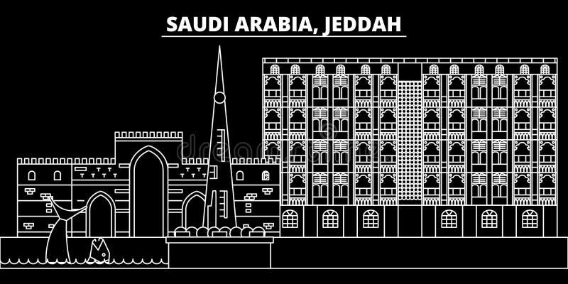 Jeddah sylwetki linia horyzontu Arabska liniowa architektura Arabia Saudyjska, Jeddah wektorowy miasto -, saudyjczyk - Jeddah pod royalty ilustracja