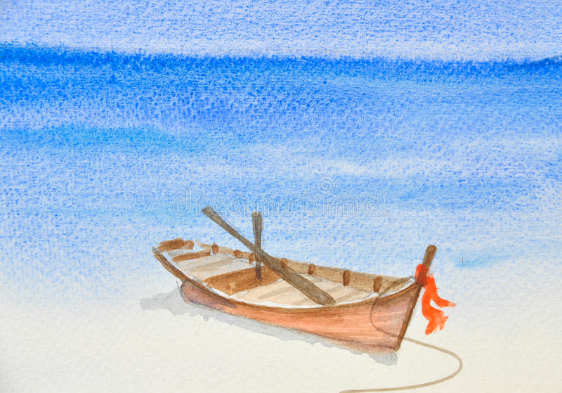 Jeden łódź rybacka na pięknym plażowym akwarela obrazie ilustracji