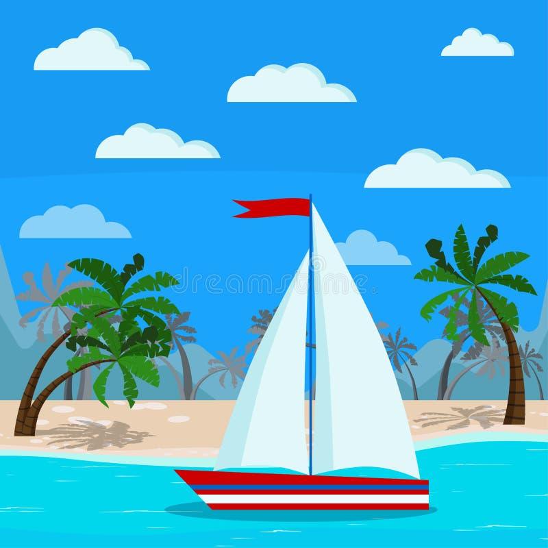 Jeden żaglówka wizerunek na pięknym błękitnym morze krajobrazie royalty ilustracja