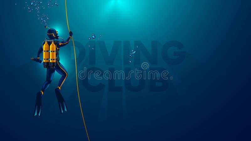 Jeden akwalungu nurek podwodny widok z powrotem Logo pikowania klub podwodny Nurek nurkuje dno morze, obraz stock