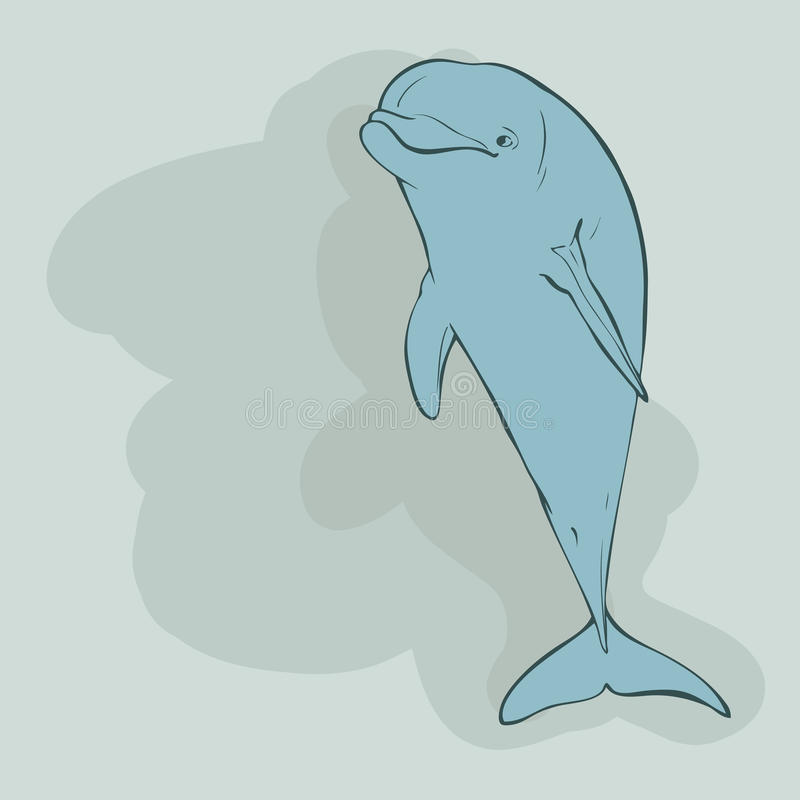 Jeden błękitny delfin royalty ilustracja