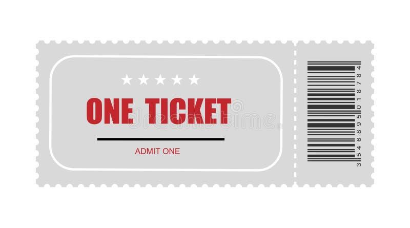 Jeden bilet z prętowym kodem szablon biletowa wektorowa ikona ilustracja wektor