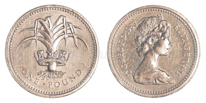 Jeden brytyjska funtowa moneta zdjęcie stock