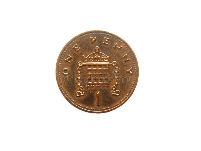 Jeden cent UK moneta zdjęcie royalty free