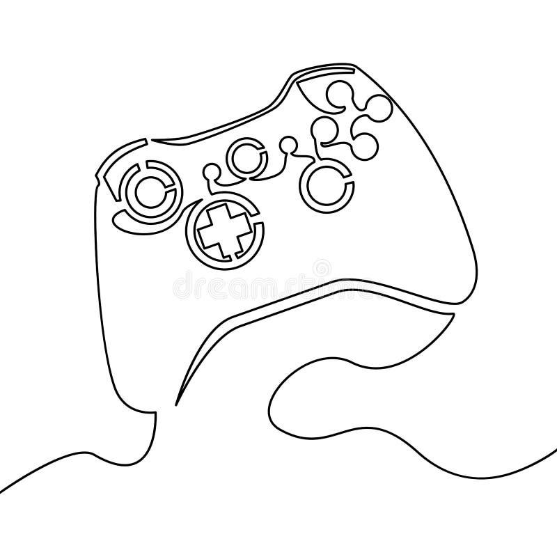 Jeden ciągłej linii joysticka konturu wektor royalty ilustracja