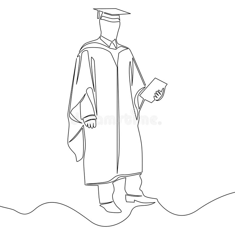 Jeden ciągłej linii skalowania ucznia pojęcie ilustracja wektor