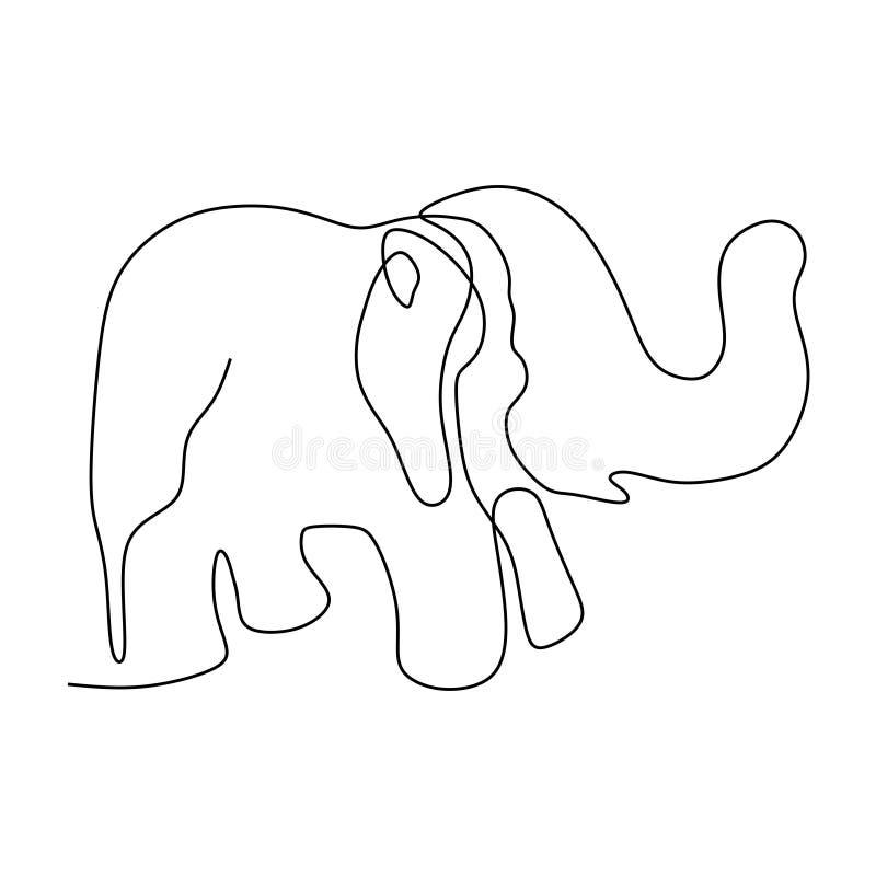 Jeden ciągły kreskowy rysunek śliczna słoń firmy logo tożsamość royalty ilustracja