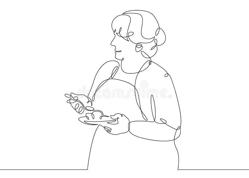 Jeden ciągły przerzedże patroszonej kreskowej doodle kucharza kobiety ilustracji