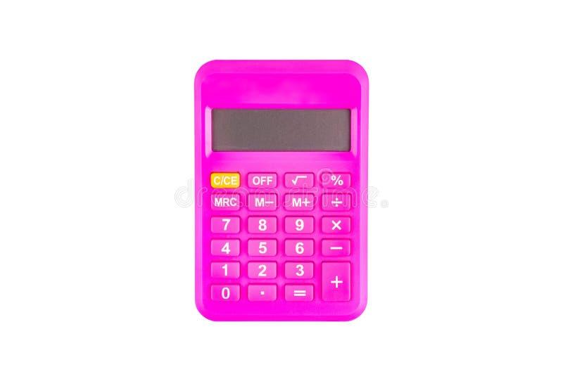Jeden cyfrowy różowy plastikowy kalkulator odizolowywający na białym tle Odgórny widok zdjęcie royalty free