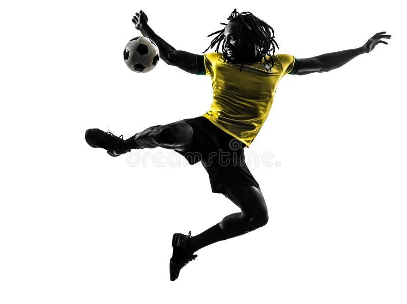 Jeden czarny Brazylijski piłka nożna gracza futbolu mężczyzna obraz stock