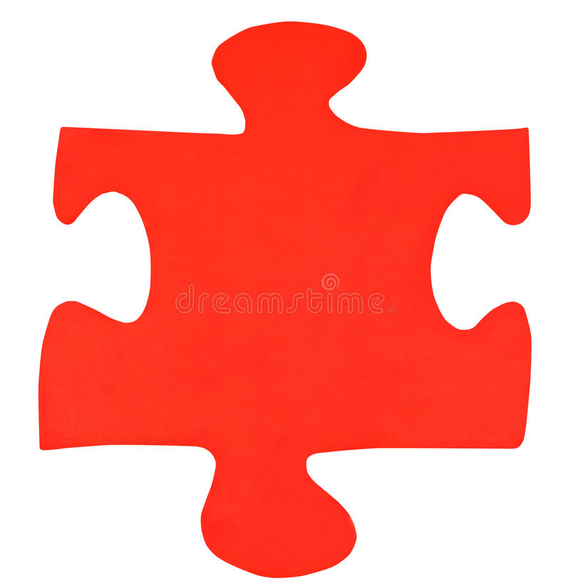 Jeden czerwień papierowy kawałek wyrzynarki łamigłówka zdjęcie royalty free