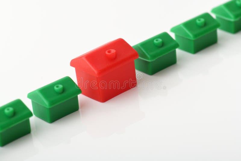 Jeden czerwieni domowa pozycja out od linii zdjęcia stock