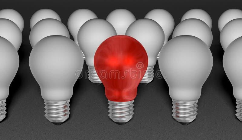 Jeden czerwone światło żarówka wśród popielatych ones na popielatym textured tle ilustracja wektor