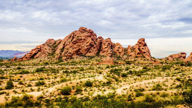 Jeden czerwonego piaskowa buttes Papago park blisko Phoenix Arizona obraz stock