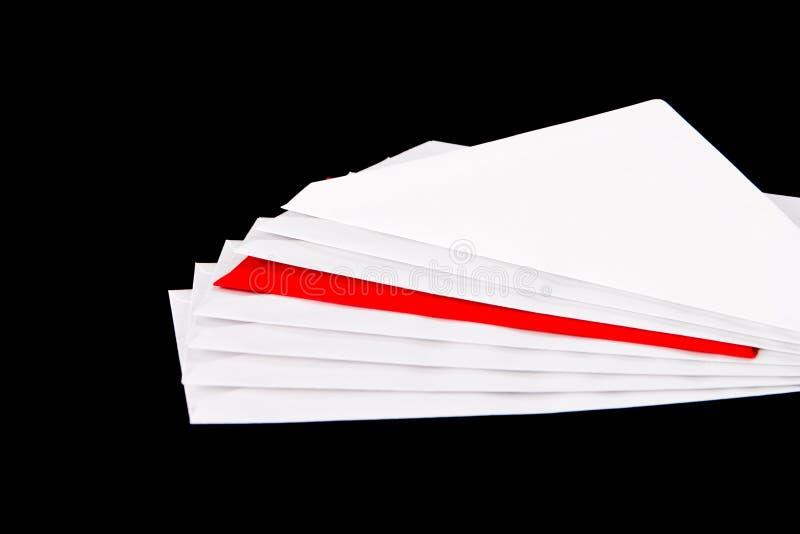 jeden czerwony 7 koperty white obraz royalty free