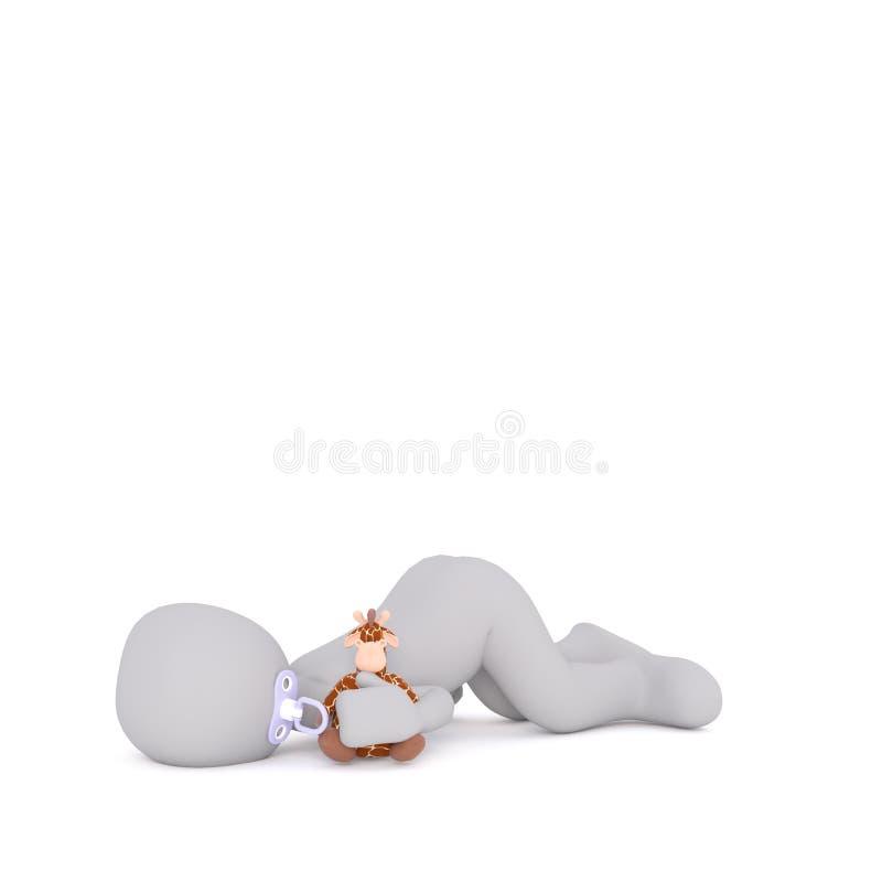Jeden 3D odpłacający się mężczyzna dziecko śpi na podłoga ilustracja wektor