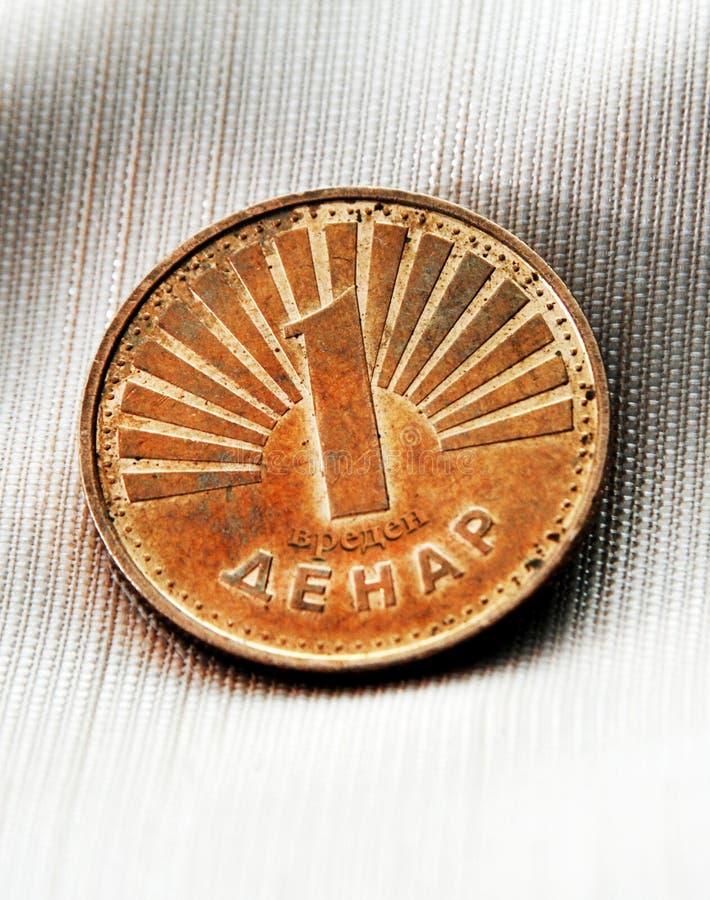 Jeden denar moneta Macedonia fotografia stock