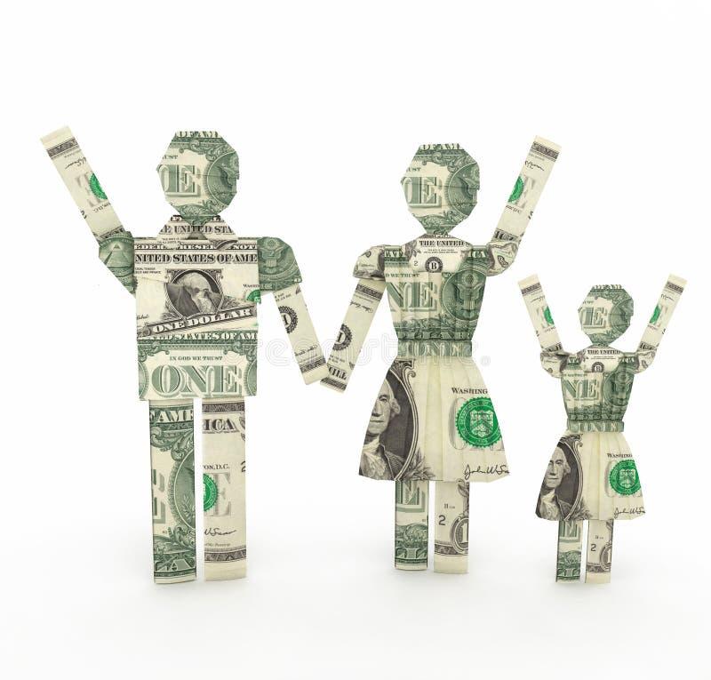 Jeden dolarowego rachunku rodzinny origamy 3D rendering obrazy stock