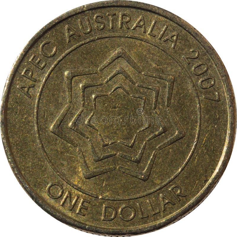 Jeden dolarowy Australijski miedzianej monety APEC Australia rok 2007 zdjęcia royalty free