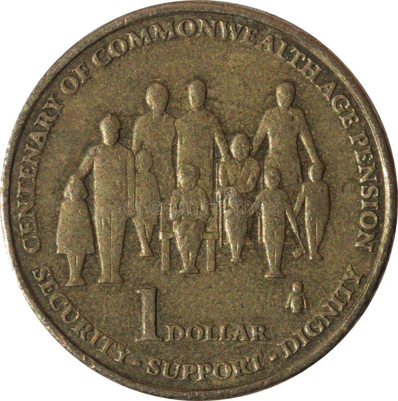 Jeden dolarowy Australijski miedzianej monety stulecie wspólnota narodów starzał się emerytalnego rok 2009 obraz stock