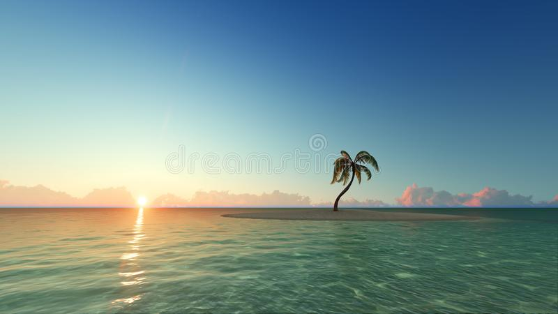 Jeden drzewko palmowe na zmierzch wyspie 3D odpłaca się ilustracja wektor
